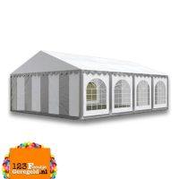 Tent 5×8 grijs/wit